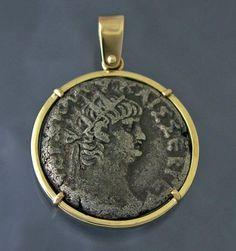 Ancient Silver Nero Coin 14k Gold Pendant