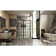 DreamLine Unidoor Toulon H x to W Frameless Hinged Satin Black Shower Door at Lowe's. The DreamLine Unidoor Toulon is a frameless swing shower door designed in step with modern market trends. The Toulon has a stylish window pane look, with Framed Shower Door, Frameless Shower Doors, Glass Design, Door Design, Black Shower, Shower Remodel, Shower Tub, Shower Enclosure, Home Decor
