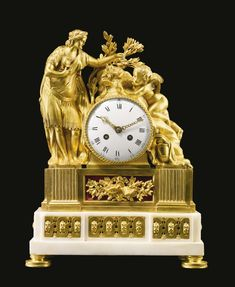 A Louis XVI ormolu and white marble mantel clock circa 1775