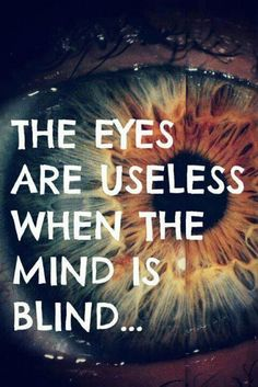 """The Eyes Are Useless When The Mind Is Blind?ref=pinp nn The eyes are useless when the mind is blind. There are so many myths and misconceptions about how to improve eyesight or prevent eye problems. Stop me if you've heard these: """"Eating carrots is good for your eyes."""" """"Videogames ruin your eyesight."""" """"Exercising..."""
