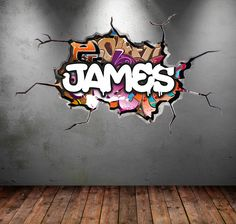 Personalised Custom Graffiti Name Wall Art Stickers Decor For Kids - Wall decals carscartoon cars break through wall art mural decor sticker cracked