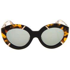 Karen Walker Eyewear Flowerpatch sunglasses ($105) ❤ liked on Polyvore featuring accessories, eyewear, sunglasses, glasses, lunettes, black multi, over sized sunglasses, oversized cateye sunglasses, oversized sunglasses and karen walker glasses