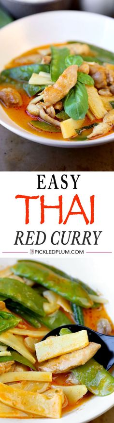 """Easy Chicken Thai Red Curry Recipe - Sweer  a little spicy, this quick and delicious Thai dish only takes 10 ingredients and 15 minutes to make! Easy, healthy, Thai Food, dinner, curry, healthy 