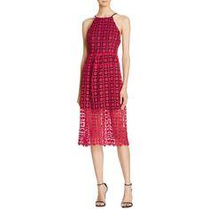 Designer Clothes, Shoes & Bags for Women Red Sparkly Dress, Aqua Blue Dress, Dress Red, Blue Lace, Red High Neck Dress, High Neckline Dress, Summer Dresses 2017, Crochet Lace Dress, Calf Length Dress