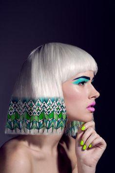 modern barbie makeup with pattern on hair, lov it