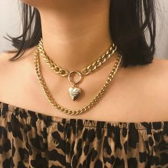 $10.84 | ZG Metal Heart Choker Punk Necklace For Women Chain Round Hollow Multilayer Pendant Long Necklaces Jewelry подвеска Outfit Accessories FromTouchy Style | Free International Shipping. Gold Heart Locket, Heart Locket Necklace, Coin Pendant Necklace, Heart Choker, Necklace Types, Layer Necklace, Layered Chain Necklace, Necklace Ideas, Necklace Chain