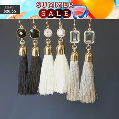Gray Silk Tassel   16K Polished Gold Plated over Brass Cap  Size = 7mm x 34mm    Earrings  Color = Matte Gold  Material = Brass  Size = 13mm x 28mm    Earring hook - Base meterial : Brass  Size : 20.5 mm   Treatment : Luster  Gold  plated  High quality plated. Anti tarnish. hypoallergenic.    All items come wrapped individually in a ribboned gift box. | Shop this product here: spree.to/apud | Shop all of our products at http://spreesy.com/SouthernStitchesCo    | Pinterest selling powered by…