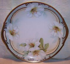 R.S. Germany Art Nouveau porcelain tray handles transfer florals HP gold ca.1900