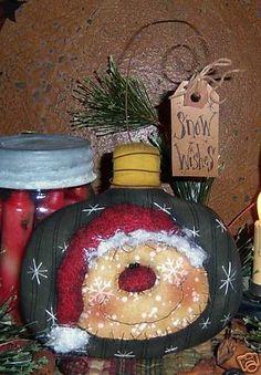 free primitive Christmas patterns   Primitive Christmas Snowman Santa Ornie Pattern 401   eBay
