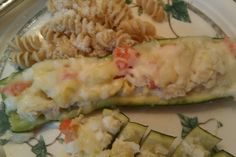 crab-stuffed zucchini recipe from @jillianmichaels website...Yum! Made these for dinner tonight. Even though it's a light dish on calories and carbs it tasted decadent.