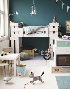 Shared toddler room with bunk beds- love the color scheme and how it doesn't feel cluttered even though there's stuff everywhere