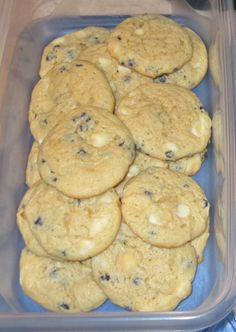 """Blueberry Cheesecake Cookies Ingredients: 2 boxes Jiffy Blueberry Muffin mix 4 oz. cream cheese 1 stick """"I Can't Believe It's Not Butter"""" ½ C. light brown sugar, firmly packed 2 eggs 1 ½ C. white chocolate chips"""