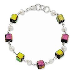 Sterling Silver Pink  Yellow Dichroic Glass FW Cultured Pearl Bracelet Length 85 >>> Continue reading at the image link.
