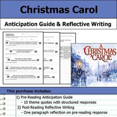 """Get students making """"big picture"""" connections with this Christmas Carol anticipation guide and reflective writing.  This purchase includes a two page handout with quotes that relate to the text's theme.  Students are asked to respond by indicating whether they agree or disagree with the statement and then explaining their opinion."""