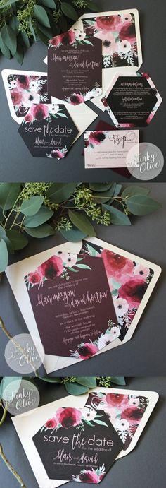 51 Ideas For Diy Wedding Invitations Rustic Envelope Liners Wedding Invitations Elegant Modern, Rustic Invitations, Elegant Wedding Invitations, Wedding Stationary, Invites, Watercolor Wedding Invitations, Floral Invitation, Invitation Suite, Wedding Cards