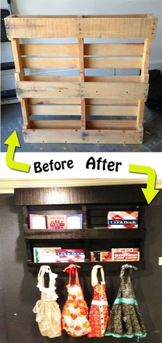 Wood Pallet Makeover - storage/display for cookbooks, as well as to hang  aprons