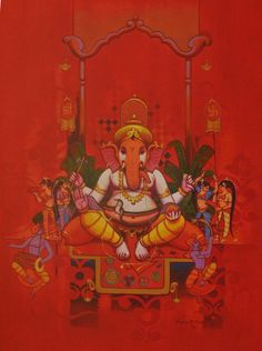 Ganesh Pooja Artwork by Sagar Pawar. The artwork depicts the worship arrangement of Lord GANESHA in a traditional Indian Pooja . Sell Paintings Online, Selling Paintings, Online Painting, Lord Ganesha Paintings, Ganesha Art, Ganesh Pic, Jai Ganesh, Ganesh Lord, Shree Ganesh