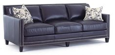 Beautiful Navy Leather Sofa