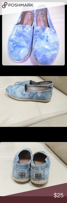 TOMS shoes Blue suede, worn one time, TOMS classics flats. TOMS Shoes Flats & Loafers