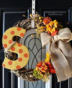 Cute fall wreath, except I would keep the letter plain