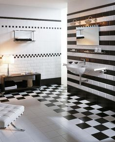 Schwarz Weiß Look Im Badezimmer