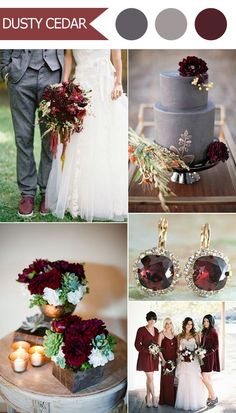 2016 trending deep red marsala and gray fall wedding color ideas:
