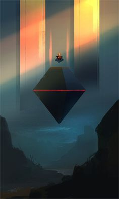 Looks like a sorcerer levitating, meditating on magic above this dark geometric .-- Looks like a sorcerer levitating, meditating on magic above this dark geometric shape – Meditation, by Sylvain Coutouly Concept Art Landscape, Fantasy Concept Art, Fantasy Landscape, Fantasy Artwork, Environment Concept Art, Environment Design, Science Fiction Kunst, Environmental Art, Sci Fi Art