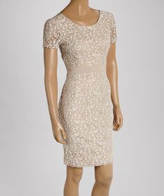 Love this Beige Floral Lace Shift Dress on #zulily! #zulilyfinds