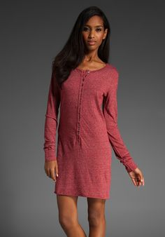VELVET Warm Heather Aria Long Sleeve Henley Dress in Vino at Revolve Clothing - Free Shipping!