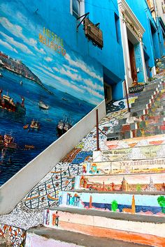 Street art in colourful Valparaiso, Chile. The Beautiful Country, Beautiful Places, Beautiful Stairs, Places Around The World, Around The Worlds, Places To Travel, Places To Go, Trip Hop, Paisajes