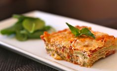 """Grain-free Lasagna made with """"breaded"""" and baked zucchini """"noodles"""". #SCD"""