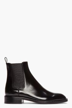 SAINT LAURENT Black Patent leather CAvaliere Chelsea Boots km