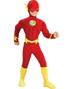 Flash Muscle Costume - Child Costume - Small (4-6) . $36.88. Flash Muscle Costume includes: red character muscle chest jumpsuit (button closure in the back) with attached boot covers, yellow belt and character headpiece. Product is available in Toddler size (2-4) for 1 to 2 years old, and Medium size (8-10) for 5 to 7 years old. Made of 100% polyester. Care instructions: hand wash in cold water, line dry, do not bleach.