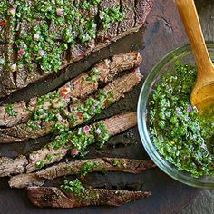 Your dad will love this meal for Father's Day: Grilled Flank Steak with Chimichurri. #recipes | everydayhealth.com