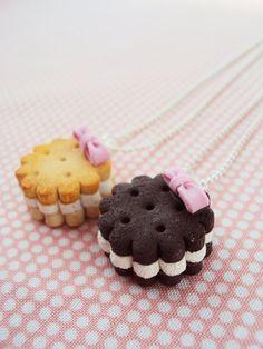 Arcilla del polímero collar BFF galletas cookies miniatura