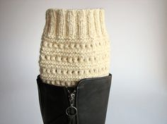 Hand Knitted Openwork Boot Cuffs  Boot Toppers Leg by milleta, €16.00