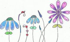 Colorful Flower Lady Bug Doodle  easy to draw flowers