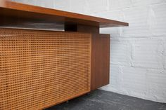 """""""Executive'' desk and return designed by George Nelson and Associates and manufactured by Herman Miller in the Desk Skirt, Office Nook, George Nelson, Small Office, Panel Doors, Desktop, Cabinet, Herman Miller, Nooks"""