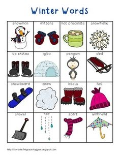 This is a pack of for your writing center or word wall. This is a set of winter words. This pack contains a full page list (color and black and white versions), word strips, and word wall cards. My kids love to use them to help them spell words or Work On Writing, Writing Workshop, Teaching Writing, Writing Activities, Teaching English, Senses Activities, Writing Centers, Winter Activities, Writing Ideas