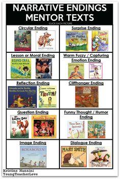 FREE! Writing Narrative Endings Printable Mentor Text Ideas- Young Teacher Love…