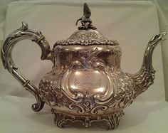 A beautifully chased Early Edwardian Sterling Silver Teapot designed by Charles Clement Pilling, London circa acclaimed silversmith Charles Copper And Brass, Bronze, Vintage Silver, Antique Silver, Teapot Design, Silver Teapot, Teapots And Cups, Tea Service, Silver Work
