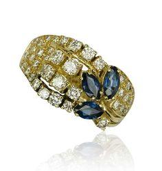 Saphir-Diamant-Ring mit 0,519ct Saphirnavettes und 1,021ct Diamanten in Gelbgold #Schmuck #Schmuckboerse #vintage #verlobung #diamant #brillant http://schmuck-boerse.com/index-gold-ringe-11.htm http://schmuck-boerse.com/ring/220/detail.htm