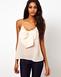 ASOS Cami With Pearl Detail Bow Front $47