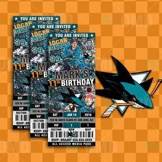 San Jose Sharks Hockey Ticket Style Sports Party Invitations #sportsinvites