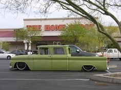 Vintage crew cab pickup lowrider