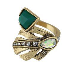 Boho Style Leaf Themed Ring with Rhinestones //Price: $5.65 & FREE Shipping //     #hashtag4