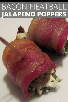 A delicious bacon appetizer, these jalepleno peppers are loaded with cream cheese, meatballs and wrapped in bacon! Cheese Meatballs, Bacon Jalapeno Poppers, Poppers Recipe, Bacon Appetizers, Recipe Collection, Stuffed Peppers, Beef, Cream, Recipes