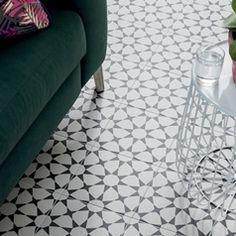 Black and white floor tile