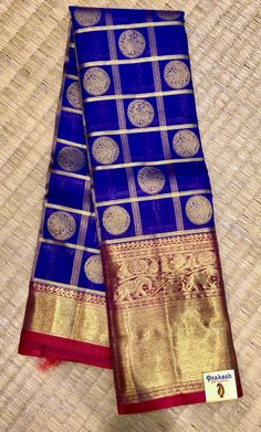 Trending combination Pure silk saree of Royal Blue and Red combination