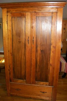 Early American Furniture Antique Primitive Pine Colonial Armoire Wardrobe @1795 #Federal